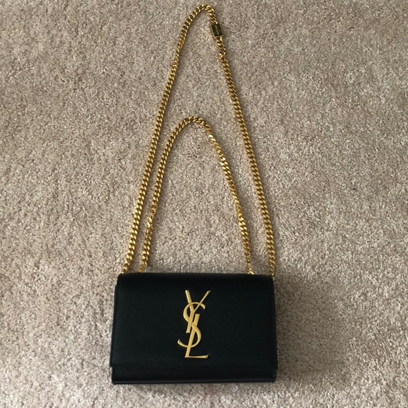 68415494 YSL small long chain clutch - Black and Gold